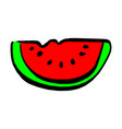 slice of watermelon sketch hand vector image