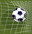 soccer ball falls into net of goal vector image