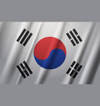 south korea flag waving on wind background vector image