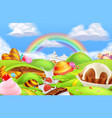 sweet candy land cartoon game background 3d vector image