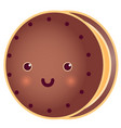sweet cute round tasty cookie vector image vector image
