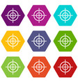 target crosshair icon set color hexahedron vector image vector image
