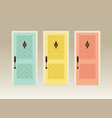 three colorful front doors vector image
