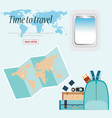 time to travel conceptual with airplane window vector image vector image