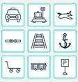 transportation icons set with car vehicle ship vector image vector image