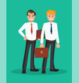 two successful businessmen in white shirts vector image vector image