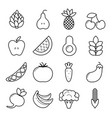 vegan icon set outline vegetables and fruits vector image