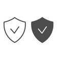verified emblem line and glyph icon shield with vector image vector image
