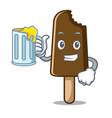 with juice chocolate ice cream mascot cartoon vector image