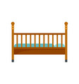 wood baby bed icon flat style vector image vector image