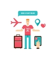 Young man ready for vacation Flight booking design vector image