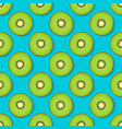 kiwi seamless pattern on blue background vector image