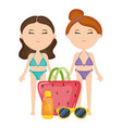 beautiful women couple with swimsuit and handbag vector image vector image
