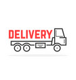 black thin line delivery truck vector image