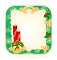 Button square Christmas Spruce with red candle vector image vector image