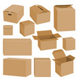cardboard box mockup set realistic style vector image vector image