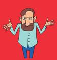 cartoon man shrugs vector image vector image