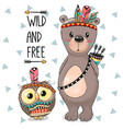 cartoon tribal bear and owl with feather vector image vector image