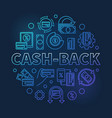 cash-back blue outline round concept vector image vector image