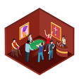 casino room 3d isometric gambling concept vector image vector image