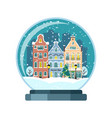 christmas snow globe with amsterdam houses vector image