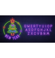 christmas tree neon sign new year neon text edit vector image vector image