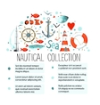 Collection of nautical elements in a semicircle vector image vector image
