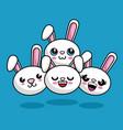 cute rabbits characters kawaii style vector image vector image