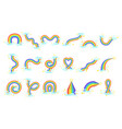 differen shape rainbows set of colorful girly vector image