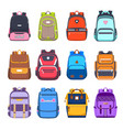 flat icons school bags and backpacks handbags vector image