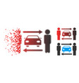 fragmented dotted halftone men cars exchange icon vector image vector image
