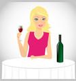 Girl drinks wine vector image vector image