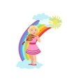 Girl Playing Violin With Rainbow And Clouds vector image vector image
