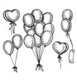 hand drawn flying helium balloon doodle sketch vector image