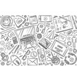 hand drawn webinar set doodle background vector image