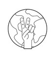 hand making peace and love with world vector image