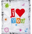 heart with text I love you vector image vector image
