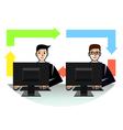 IT professionals teamwork vector image