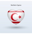 Love Northern Cyprus symbol Heart flag icon vector image vector image