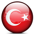 Map on flag button of Republic of Turkey vector image vector image