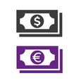 money icon on white background vector image vector image