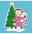 Monkey and Christmas Tree vector image vector image