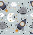 seamless pattern with rocketmoonplanet vector image