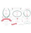 Set of Wedding Graphic Elements with Arrows Hearts vector image vector image