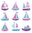 set sea transport icons vector image vector image