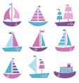 set sea transport icons vector image