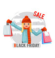 shopping cute girl black friday sale bag package vector image