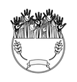 silhouette circular border with olive branch and vector image vector image