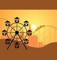 silhouettes of a city and amusement park with the vector image vector image