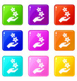 spa hand care icons set 9 color collection vector image vector image